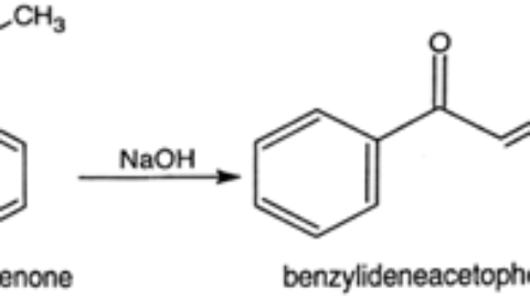 Synthesis of chalcone from benzaldehyde and acetophenone