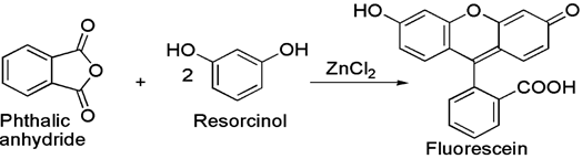 Synthesis of fluorescein from resorcinol and phthalic anhydride